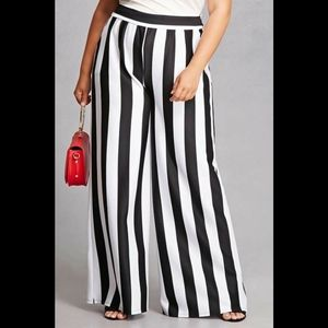 Forever 21 Plus Size Black and White Stripe Pants